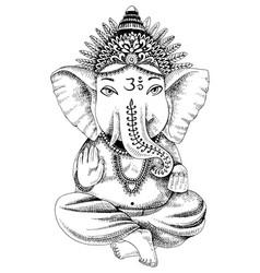 hand drawn ganesha indian god vector image