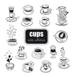 hand drawn teapots collection vector image