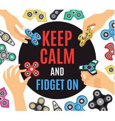 Hand spinner fidget advertisement poster vector