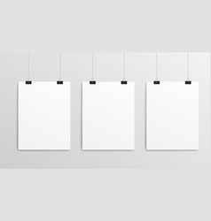 hanging paper posters - realistic blank template vector image