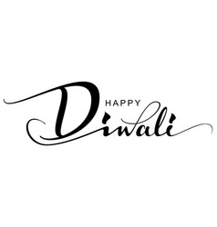 Happy diwali text greeting card indian holiday vector