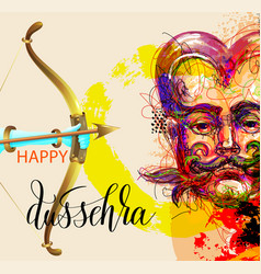 Happy dussehra poster design with a portrait vector