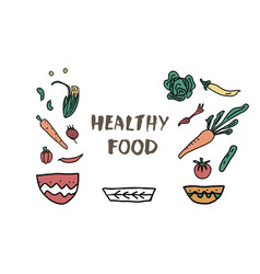 healthy food concept with lettering design vector image