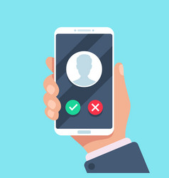 Incoming call on mobile phone calling on vector