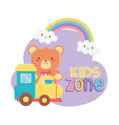 kids zone teddy bear and plastic train toys vector image