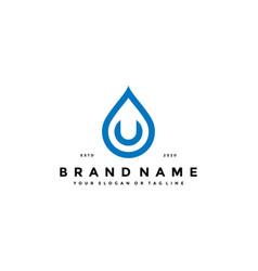 Letter u water drop logo design vector