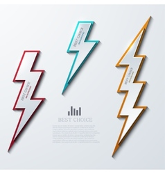 Lightning bolt banners set 3 variants vector
