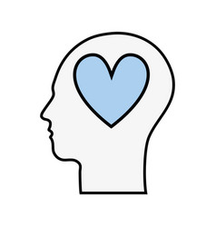 line silhouette head with heart inside vector image