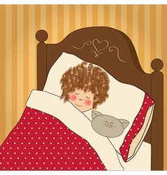 Little girl sleep with her toy vector