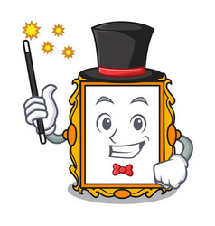 magician picture frame mascot cartoon vector image