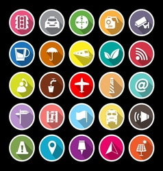 Map sign flat icons with long shadow vector