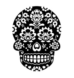 Mexican sugar skull halloween skull with flowers vector