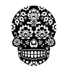 Mexican sugar skull halloween skull with flowers vector