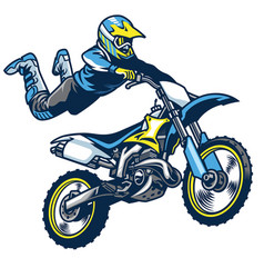 Motocross rider doing superman trick vector
