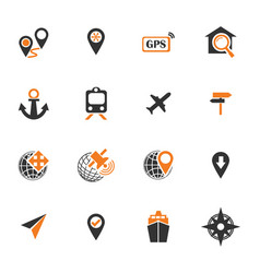 navigation icon set vector image