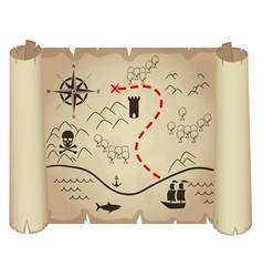 old treasure map papyrus vector image