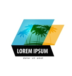 Palm trees logo design template travel or resort vector