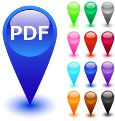 PDF button vector image
