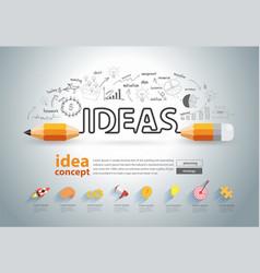 pencil ideas concept doodles icons set vector image