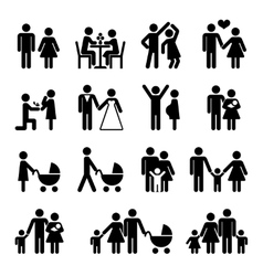 People family icon set Love and life vector