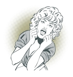 People in retro style Girl screams in fear vector image
