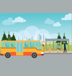 people waiting for a bus at the bus stop vector image