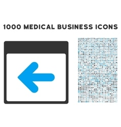 Previous calendar day icon with 1000 medical vector