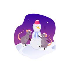 rats sculpt a snowman vector image