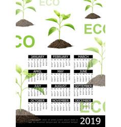 realistic ecology 2019 year calendar concept vector image