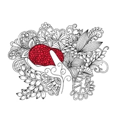 Red heart in hand on a flower carpet vector image