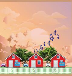 row residential houses with noisy neighbor vector image
