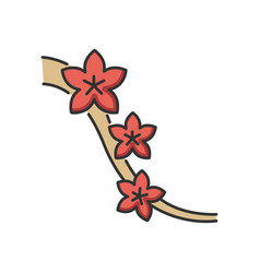 Sakura rgb color icon cherry blossom on tree vector