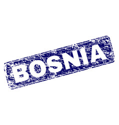 Scratched bosnia framed rounded rectangle stamp vector
