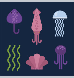 Sea animals marine life character vector