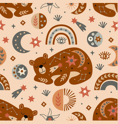 Seamless pattern with celestial bear vector