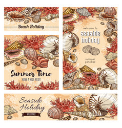 Seashells and corals mollusk clam snail shells vector
