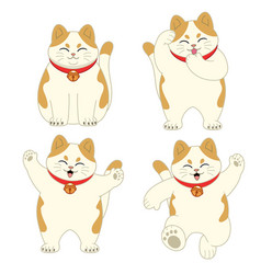 set cute cartoon cat vector image