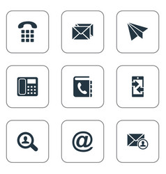 set of simple contact icons vector image