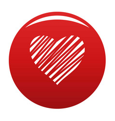 Shaded heart icon red vector