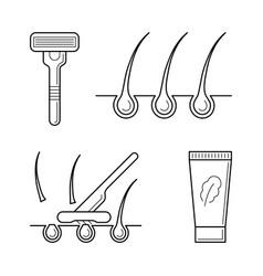 Shaver razor with blade cream vector
