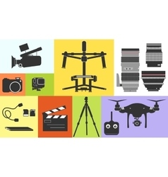 Silhouette Icon Cinema Footage Photo Professional vector image