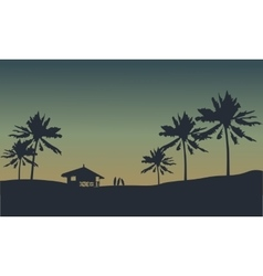 Silhouette of hut in seaside vector