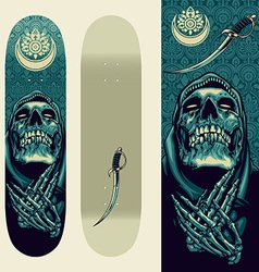 Skull praying design on skateboard template vector