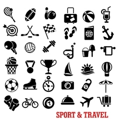 Sport travel tourism an recreation icons set vector