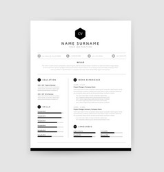 stylish cv resume template design for a creative vector image