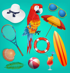 summer holiday objects set vector image