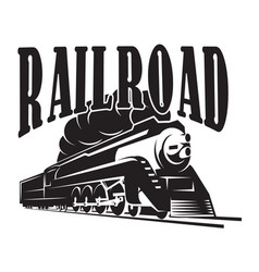 Template with a locomotive vintage train vector