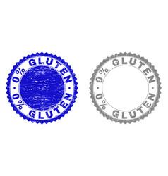 Textured 0 percents gluten grunge stamps vector