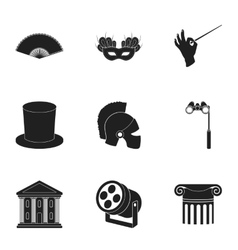 Theater set icons in black style Big collection vector