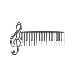 Treble clef and piano keyboard vector